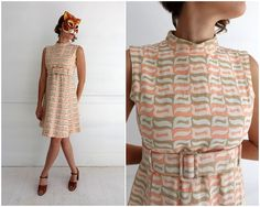 Vintage 60s Mod Pink and Tan Textured Brocade Belted Party Shift Dress by Jane Justin for Don Sophisticates | Medium by AnimalHeadVintage on Etsy