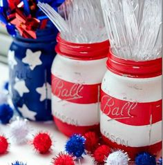 4th of July, Fourth of July, American Flag, Stars and Stripes, American, USA, American pride, diy, american flag mason jars, mason jars, diy mason jars, 4th of july party decor, 4th of july theme party, neat method, home organizing