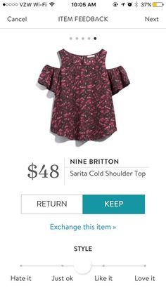 Nine Britton Sarita Cold Shoulder Top. I love Stitch Fix! A personalized styling service and it's amazing!! Simply fill out a style profile with sizing and preferences. Then your very own stylist selects 5 pieces to send to you to try out at home. Keep what you love and return what you don't. Only a $20 fee which is also applied to anything you keep. Plus, if you keep all 5 pieces you get 25% off! Free shipping both ways. Schedule your first fix using the link below! #stitchfix @stitchfix…