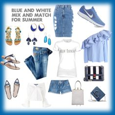 Blue and White Mix and Match by cheryl-williams-286 on Polyvore featuring Jacquemus, Chicwish, Just Cavalli, Moschino, Mystique, Jack Rogers, NIKE, Fendi, 3.1 Phillip Lim and Noor Fares