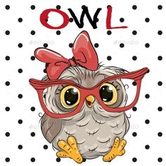 Buy Owl with Glasses by on GraphicRiver. Cute Cartoon Owl with glasses on a dots background