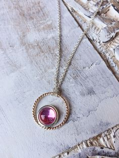 MIXED METAL. Pink Sapphire Cabochon Pendant Necklace. Handmade Artisan Jewelry available at www.lalabliss.com