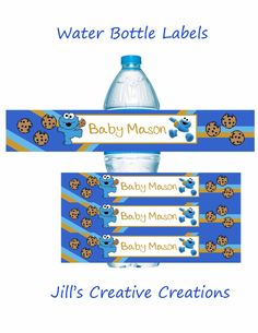 Cookie Monster Baby Shower Water Bottle Labels