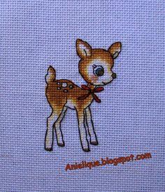 cute, sweet, deer, cross stitch