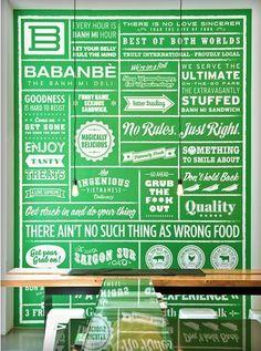 Wall of signage Babanbè Restaurant Identity, Restaurant Menu Design, Restaurant Concept, Restaurant Signage, Restaurant Ideas, Environmental Graphic Design, Environmental Graphics, Berlin, Restaurants