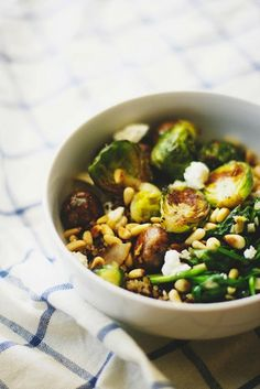 brussels sprouts over quinoa
