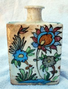 ANTIQUE  QAJAR DYNASTY Porcelain bottle, perfume, apothecary, oil jar.