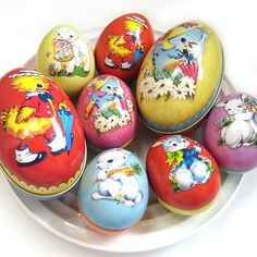 ★ SMALL & LARGE VINTAGE EASTER EGG TIN BOX New Metal Accessory Trinket Kids Gift #Easter