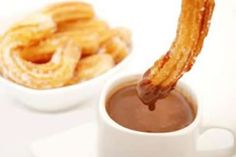 Churros are short, fluted fried dough sticks and are popular throughout Spain and South America. They originated in Spain. Churros are often enjoyed for breakfast with a cup of hot chocolate or coffee but Mexicans often enjoy them in the evening as well.