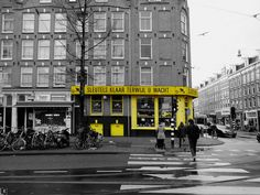 Urban yellow @Amsterdam #urban_yellow #yellow_facade #Amsterdam #Bilderdijkstraat #blackandwhitephoto #greyscale #urbanism #photography #travel #illustration