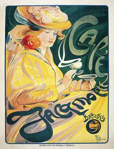 Cafe Jacamoe by Ferdinand Toussaint Vintage French Poster Wall Art giclee quality reprodu Vintage French Posters, Vintage Travel Posters, French Vintage, Band Logo Design, Cafe Posters, Art Nouveau Poster, French Art, French Style, Unique Wall Art