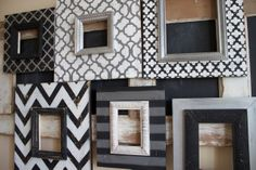 Wall Unit Grouping of Picture Frames, Distressed, Handmade, Hand Painted Black,Vintage White, Silver and Grey. $375.00, via Etsy.