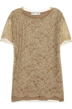 Valentino Lace-paneled cotton T-shirt #theoutnet #fashionmath