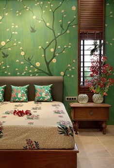 bedroom wall hand painted by an artist with tree and flowers. Block printed bedsheet with flowers complete the mural. Design by ACE Associates. Bedroom a hand painted bedroom wall Indian Bedroom Decor, Ethnic Home Decor, Indian Home Decor, Home Decor Bedroom, Living Room Decor, Diy Home Decor, Indian Wall Decor, Traditional Bedroom Decor, Nursery Decor
