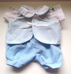Coleco Vintage Cabbage Patch Doll Clothes Light Blue and White Romper With Vest #ClothingAccessories