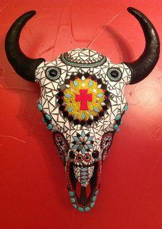 Mosaic Buffalo Skull
