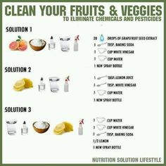 Healthy living  ideas or you can just use Norwex's Veggie and Fruit Cloth and water! It's amazing! www.deannahmuha.norwex.biz