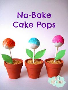No-Bake Cake Pops in 3 Steps (Tim bits, white chocolate, sprinkles) Dry in egg cartons with holes for strawsl