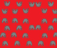 elephants_black_gray_red fabric by shy_bunny on Spoonflower - custom fabric