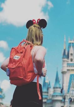 Junkbox Boardwear rucksack in Coral all the way over in Disneyland Paris!