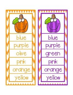 Fall Color Word Clip Activity by Sally Ellerbee Color Word Activities, Recording Sheets, Sally, Purple, Pink, Card Stock, Words, Paper Board, Pink Hair