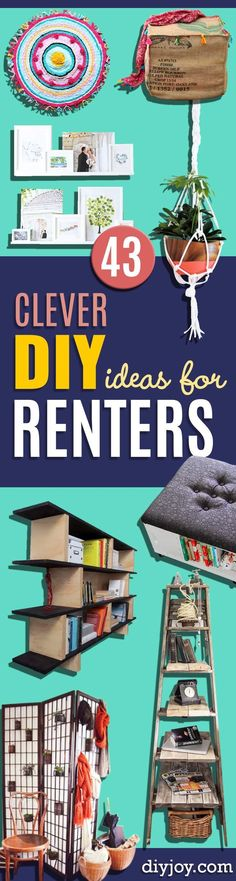 DIY Renters Decor Ideas - Cool DIY Projects for Those Renting Aparments, Condos or Dorm Rooms - Easy Temporary Wall Art, Contact Paper, Washi Tape and Shelves to Make at Home diyjoy.com/...