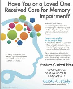 Have you or a loved one received care for A is bing conducted to gather information about caring for patients diagnosed with Mild Cognitive Impairment or Mild Dementia due to for more Info please Call 1800 920 0016 Simi Valley California, Thousand Oaks California, Camarillo California, Inglewood California, Ventura California, Malibu California, Hollywood California, Santa Paula California, Santa Clarita California