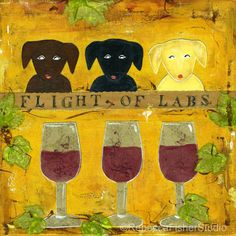 Wine Bar Labrador Kitchen Flight of Labs by RebeccaFisherStudio