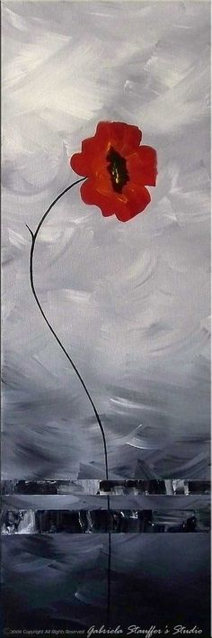 CUSTOM PAINTING - Abstract Floral Modern Painting Poppies Original Art by Gabriela 50x30 LARGE black, white, red, via Etsy: