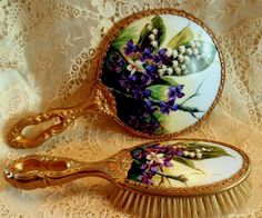 Ormolu Hand Painted Porcelain Lily of The Valley Violets Hand Mirror Brush Set   eBay