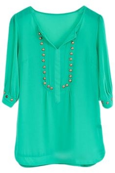 Shop Studded V-neck Green Pleated Blouse at ROMWE, discover more fashion styles online. Latest Street Fashion, Women's Fashion, Short Kurtis, Western Tops, Jean Top, Summer Essentials, Floral Dresses, Wardrobes, Blouse Designs