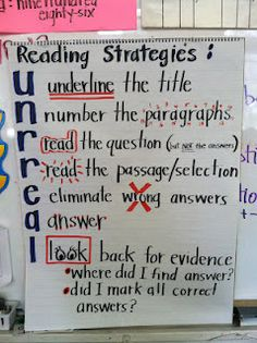 Reading strategies  (also check out CUBES math strategies poster at this third grade website.)