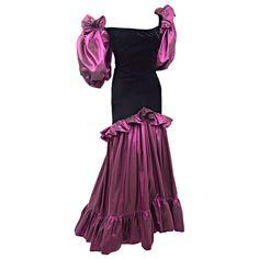 2957d0b3d78 Vintage Yves Saint Laurent Orchid Taffeta and Black Velvet Evening Dress