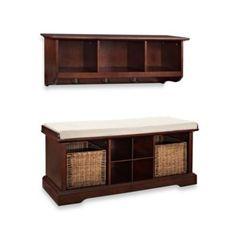 Crosley Brennan 2-Piece Entryway Bench & Shelf Set - BedBathandBeyond.com