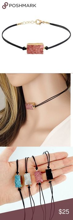 Pink Druzy and Leather Choker Genuine Druzy Stone and Leather Cord Length: 12 Inch / Extendable up to 15 Inch Measurement of Pendant Due to the nature of the product, the shape, color or texture may vary. Jewelry Necklaces