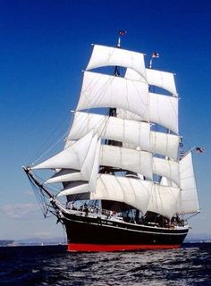"""""""Star of India"""", an iron barque built Sails from San Diego Maritime Museum Bateau Pirate, Old Sailing Ships, Full Sail, Maritime Museum, Sail Away, Tall Ships, Lighthouse, Old Things, Ocean"""