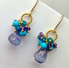 bead earrings diy blue gemstone earring amethyst cluster earring gold wire wrap blue turquoise beaded earring denim blue quartz gift for her february birthday mozeypictures Images