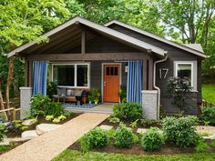 BUNGALOW has lofted beams that mimic the look of a timber frame home. Bungalows are distinctive for being part of nature - fitting into the surroundings not standing out. HGTV Urban Oasis Sweepstakes Home Giveaway 2015 in Asheville, North Carolina Small Backyard Gardens, Modern Backyard, Rustic Backyard, Large Backyard, Bungalows, Small Porches, Garden Design, House Design, Bungalow Homes