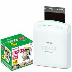 Fujifilm Instax Share Smartphone Portable Printer SP-1 With Fujifilm Instax Mini Instant Film, 10 Sheets (5-Pack)