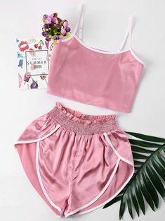 Summer Women Sexy Pajamas Silk Pijamas Sleepwear Deep V Sling Lingerie Set Cute Summer Outfits, Cute Outfits, Crop Top Et Short, Cropped Top, Crop Top And Shorts, Cut Shorts, Jugend Mode Outfits, Ruffle Shorts, Pink Shorts