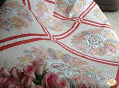 Printemps Dresden Plate Quilt Kit - saw this pattern and liked it--one similar at the Quilt Expo Longarm Quilting, Quilting Ideas, Dresden Plate, Quilt Kits, Applique Quilts, Quilt Patterns, Bella Rose, Blanket, Sewing