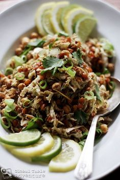 Gin Thoke (Burmese Ginger Salad)!!!!!  This makes me really excited!  With flavors of ginger, lime, peanut oil, and garlic along with lots of chickpeas, lentils, cabbage and a beautiful list of other toppings...this is a dream.  An international culinary dream I want to be a part of!