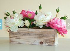 Peonies in wood box.(would like more and don't love box.)