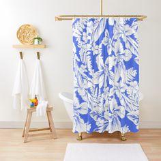 """Blue Dreams"" Shower Curtain by Polka Dot Studio Elegant Shower Curtains, Contemporary Shower, Dream Shower, Blue Dream, Program Design, Lovers Art, Polka Dots, Art Deco, Bathroom Spa"