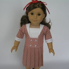 "1910's Red plaid dress inspired by Sears Catalog for your 18"" American Girl dolls via Etsy.  This dress is totally sweet and so nicely done. Thank you, Becky, for making such WONDERFUL things at great prices, and never a repeat. We are all getting OOAK's from your shop. Thank you! From nancysdollcloset."