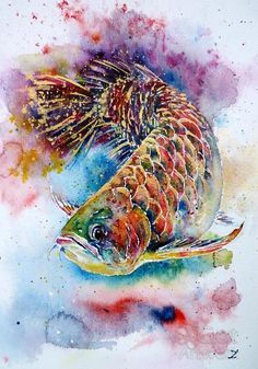 """Magic Of Arowana"" by Zaira Dzhaubaeva The Arowana, is a fish that is long with shimmering scales, that grows quite large. I have often seen then in Vietnamese & South Asian restaurants in huge aquariums. They are kept as symbols for Good Luck."