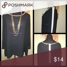 🆕 Black/Tan Sheer Top Beautiful sheer top with tan accents at the neckline and on the sleeves and back. Excellent condition! Roz & Ali Tops