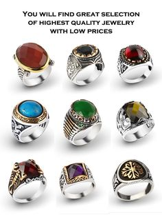 925 K Sterling Silver Turkish Men Rings with Gemstones From Manufacturer TURKEY