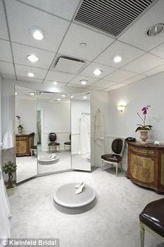 Fitting room with platform at Kleinfeld's bridal shop