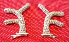 Crochet Reindeer Antler Hair Clips! Free Pattern!!